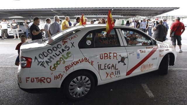 Los taxistas, contra Uber