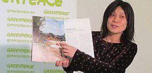 Sadako Monma, directora de una guardería en Fukushima, durante la presentación de un informe de Greenpeace