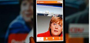 Merkel en la aplicación para smartphone lanzada en la campaña de las elecciones generales.
