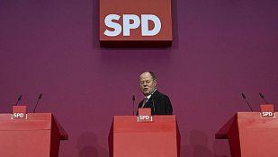 El candidato del SPD, Peer Steinbrück, durante la rueda de prensa tras las elecciones