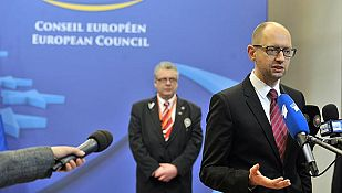 El primer ministro ucraniano, Arseniy Yatseniuk, en Bruselas