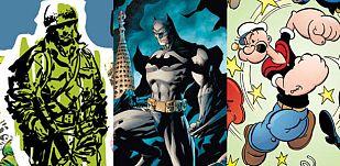 Ilustraciones de 'Hazañas bélicas', 'Batman' y 'Popeye'