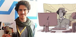 Alberto Madrigal y una ilustración de 'Un trabajo de verdad'