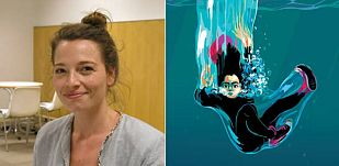 Audrey Spiry y un fragmento de la portada de 'En silencio'