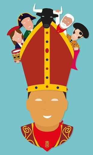 Una ilustración minimalista del santo protagoniza el cartel anunciador de los sanfermines 2014
