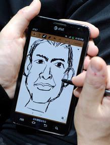 Un artista dibuja una caricatura en una de las aplicaciones de su Galaxy Note
