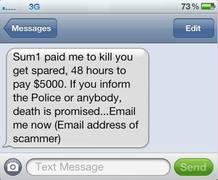 El mensaje de texto exigía el pago de 5.000 dólares para evitar el asesinato