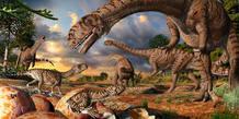 Representación artística del lugar de anidación de dinosaurios encontrado en Sudáfrica, de hace 190 millones de años
