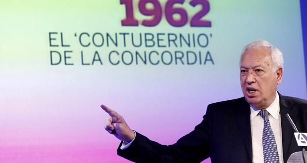 El ministro de Asuntos Exteriores y de Cooperación, José Manuel García-Margallo, durante su intervención en la clausura de las jornadas para conmemorar el 50 aniversario del Contubernio de Múnich.