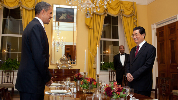 Obama y Hu en la cena privada que celebraron este martes.