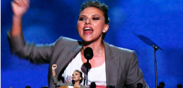 La actriz Scarlett Johansson, durante la convención demócrata en Charlotte, Carolina del Norte