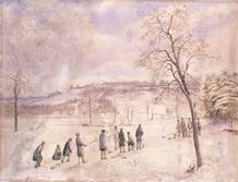 Acuarela de hombres jugando al curling en High Toronto Park de 1836.