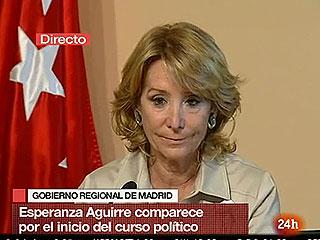 """Ver vídeo  'Aguirre dice a los profesores que """"la mayoría de los madrileños trabaja más de 20 horas""""'"""