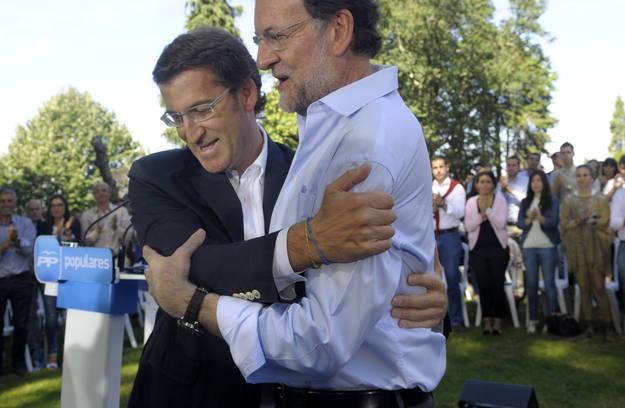 Alberto Núñez Feijoo y Mariano Rajoy en un acto del Partido Popular en Galicia
