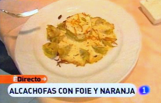 Espa&ntilde;a Directo - Alcachofas con foie y naranja
