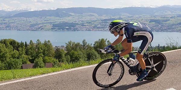 Alejandro Valverde (Movistar) durante la 7º etapa de la Vuelta a Suiza.
