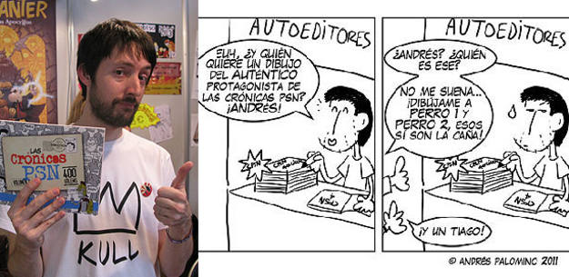 Andrés Palomino y un fragmento de una de las tiras publicadas durante el Salón del Cómic de Barcelona