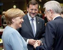 ANGELA MERKEL, MARIANO RAJOY, MARIO MONTI EN LA CUMBRE INFORMAL DE LA UE