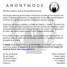 El movimiento Anonymous convocaba la 'Operación Policía' mediante un comunicado.