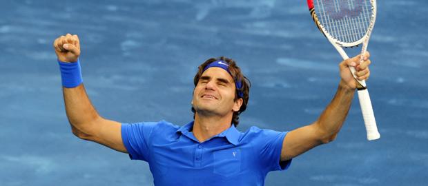 Roger Federer celebra su victoria en el Masters 1000 de Madrid.