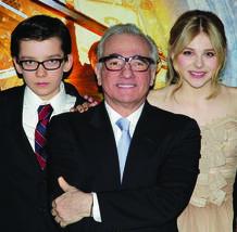 Asa Butterfield, Martin Scorsese y Chloe Moretz en el estreno de 'La invención de Hugo'