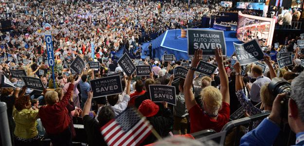 Asistentes a la convención demócrata en Charlotte, Carolina del Norte