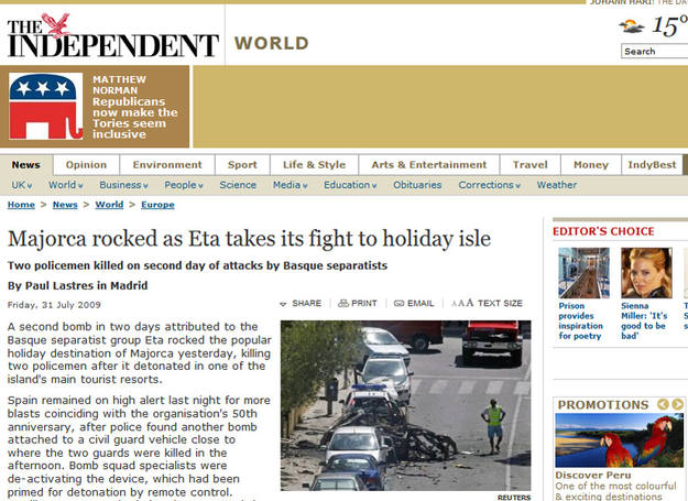 The independent: atentado de ETA
