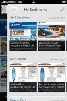 La versión para iPhone de Yahoo Axis muestra las páginas de resultados como miniaturas.