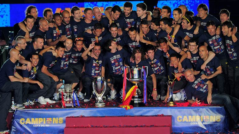 El Bar&ccedil;a celebra la Copa en el Camp Nou