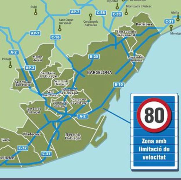 En Barcelona es obligatorio conducir a 80 kilómetros por hora en el primer cinturón de la ciudad
