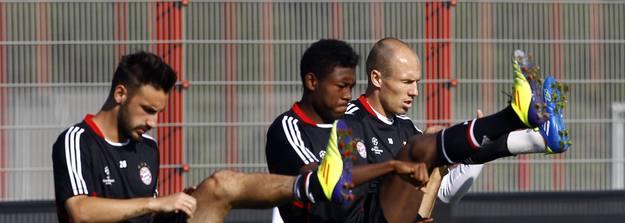 Contento, Alaba y Robben, en un entrenamiento del Bayern d