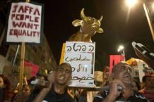 Becerro de oro en la manifestación de Tel Aviv