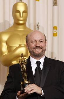 "Best foreign language film director Campanella of Argentina for the film ""El Secreto de Sus Ojos,"" displays his Oscar in Hollywood"