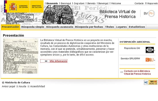 El Ministerio de Cultura pone en marcha la Biblioteca Virtual de Prensa Hist&oacute;rica