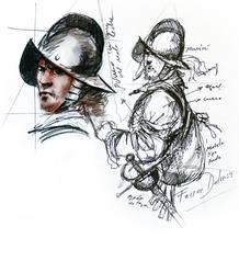 """Bocetos con anotaciones de """"Rocroi, el último tercio"""""""