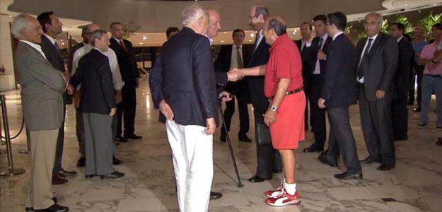 Botín saluda al rey Juan Carlos en su visita a Brasil