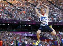 Britain's Greg Rutherford competes in men's long jump qualification at London 2012 Olympic Games
