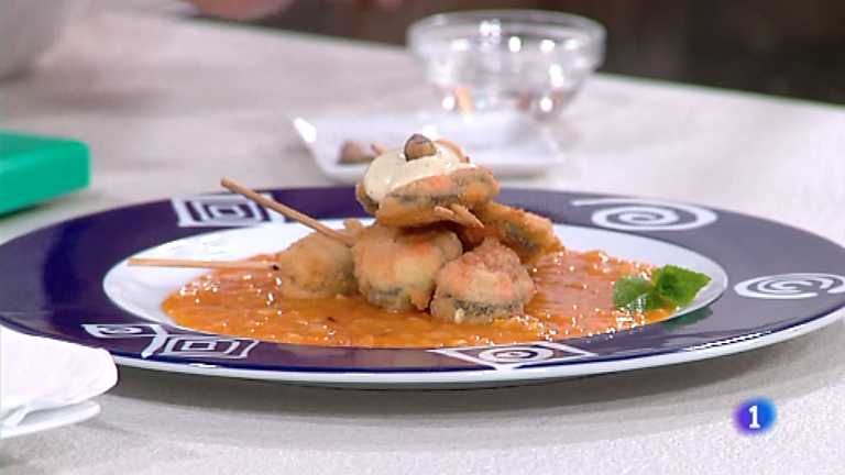 Cocina con Sergio - Brochetas de mejillones empanados con alioli de pistachos