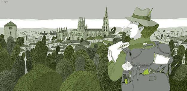 Burgos, una de las ilustraciones del libro 'Camino de Santiago', de David Pintor