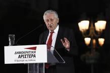 El cabeza de lista de Izquierda Democrática, Fotis Kouvelis, durante un acto de campaña en Atenas