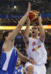 Calderon of Spain goes for basket against Tsartsaris of Greece during B men's basketball game at Beijing 2008 Olympic Games