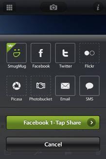 Las funciones sociales sirven para enviar las fotos a servicios como Facebook, Twitter, Flickr, Picasa o Photobucket de forma simultánea, nada más tomarlas