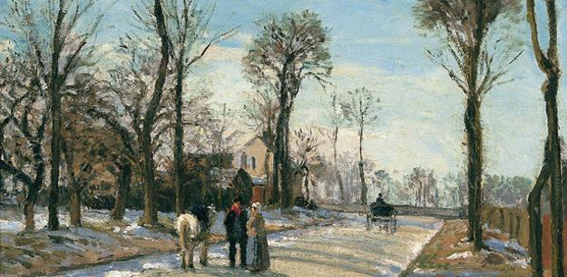 Camille Pissarro: 'Camino de Versalles, Louveciennes, sol de invierno y nieve' (1870)