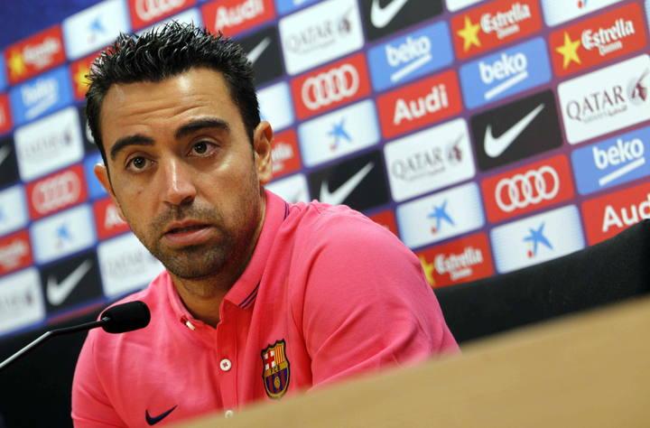 El capitán del FC Barcelona, Xavi Hernández, durante la rueda de prensa.