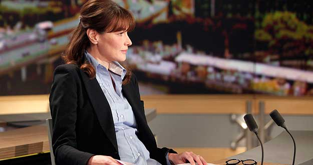 Carla Bruni-Sarkozy en una entrevista en la cadena de televisión francesa TF1.