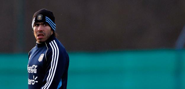 Carlos Tévez , durante el entrenamiento de Argentina en la Copa América.