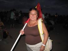 Carmen es una de las peregrinas que, a pesar de tener su pase, ha tenido que quedarse fuera del recinto.