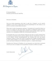 Carta del embajador de España al Director de Canal Plus Francia.