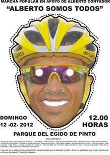 Cartel anunciador de la marcha ciclista de apoyo a Contador.