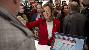 Ver vídeo  'Chacón llega al 38 Congreso Federal del PSOE'